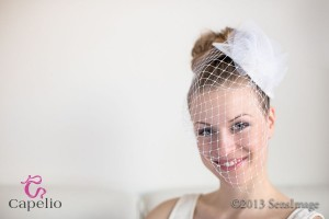 Wedding hair accessory : crinoline fascinator with birdcage veil