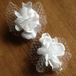 Wedding hair accessories for bridesmaids flowers birdcage veils comb flower white handmade